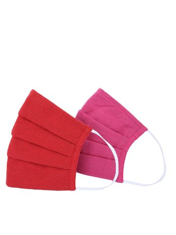 Fabnest | Fabnest Unisex Cotton 3 Ply Solid Red And Pink Comfortable Face Masks (Pack Of 2)