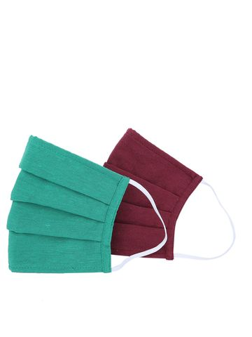Fabnest | Fabnest Unisex Cotton 3 Ply Solid Green And Maroon Comfortable Face Masks (Pack Of 2)