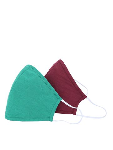 Fabnest | Fabnest Unisex Cotton 3 Ply Solid Maroon And Green Comfortable Face Masks (Pack Of 2)