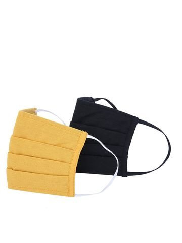 Fabnest | Fabnest Unisex Cotton 3 Ply Solid Black And Yellow Comfortable Face Masks (Pack Of 2)