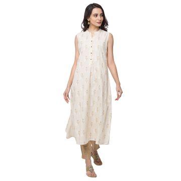 Ethnicity | Ethnicity Cotton A Line Women Beige Kurta