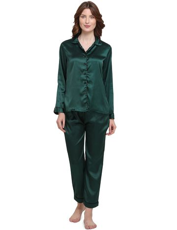Smarty Pants | Silk satin solid bottle green color night suit