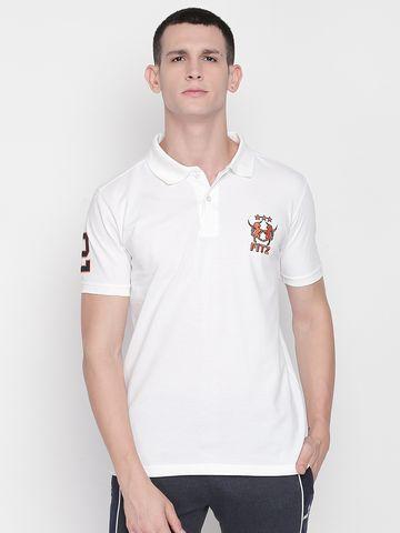 FITZ   White Solid Polo Tshirt