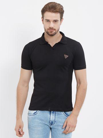 FITZ | Black Solid Polo Tshirt
