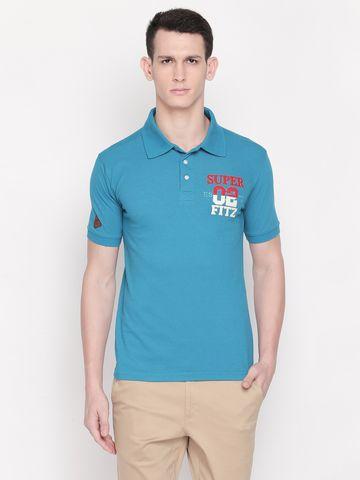 FITZ | Turquoise Typographic Polo Tshirt