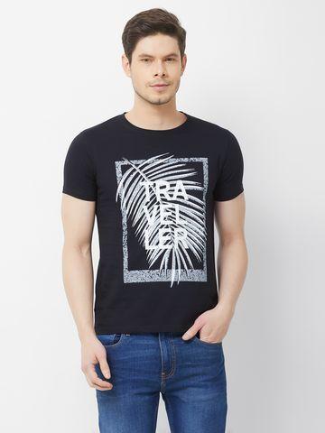 FITZ | Black Printed Polo Tshirt