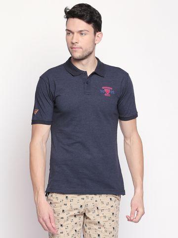 FITZ   Navy Blue Solid Polo Tshirt