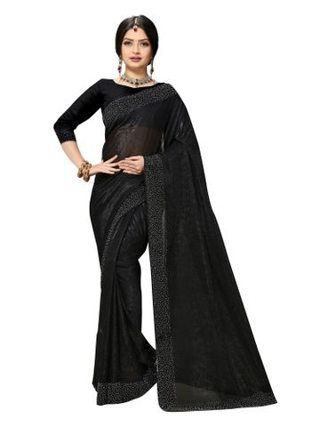 SATIMA | Fancy Ethnic Wear Black Brasso Saree