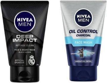 Nivea | NIVEA Deep Impact (100 ml) & Oil Control Charcoal (100 ml) (Pack of 2) Face Wash