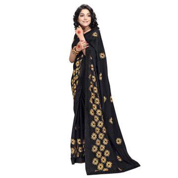 SATIMA   Designer Black Chiffon Leheriya Embroidered Saree
