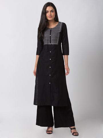 Ethnicity | Ethnicity Charcoal Blue Cotton Silk Women Kurta