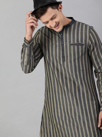 The Bear House | Men Black Striped Jacquard Festive Kurta