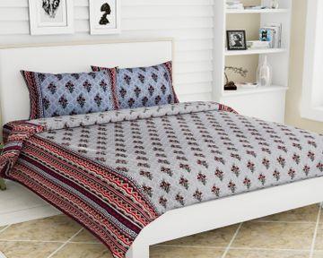 Pinkblock.in | Grey Cotton Jackpot Bedsheet