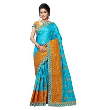 SATIMA | DESIGNER ORANGE COLOR EMBROIDERED SILK BLEND SAREE