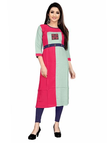 SATIMA | Green Pink Colored Casual Printed Rayon Kurti