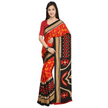 SATIMA | Satima Red & MultiCrepeAbstract Print Saree