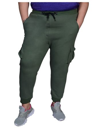 XMEX | Xmex Plus Size Olive Green Cargo Style Trackpant with Rib for Women