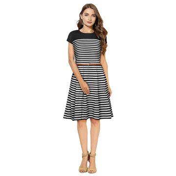 POONAM TEXTILE | Women Black Striped Formal Dress