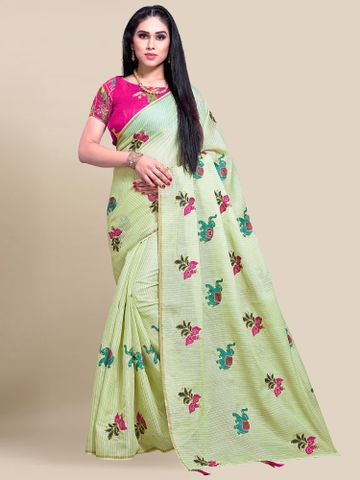 SATIMA | Women's Olive Green Embroidery Cotton Linen Solid Saree