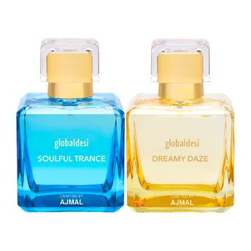 Global Desi Crafted By Ajmal | Global Desi Soulful Trance & Dreamy Daze Pack of 2 Eau De Parfum 50ML for Women Crafted by Ajmal + 2 Parfum Testers