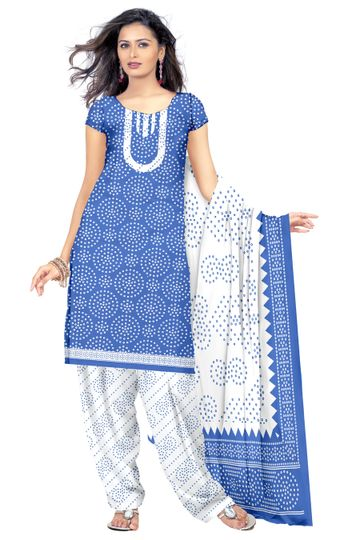 GF's   GF's Beautiful Soft Cotton Bandhani Printed Unstitched Salwar Suit Dress Materials for Women with 2.40 mtr Top