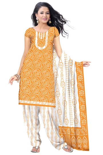 GF's | GF's Beautiful Soft Cotton Bandhani Printed Unstitched Salwar Suit Dress Materials for Women with 2.40 mtr Top