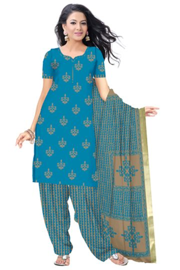 GF's   GF's BEAUTIFUL SOFT COTTON HAND BLOCK PRINTED UNSTITCHED DRESS MATERIAL WITH 2.5 MTR TOP FOR WOMEN