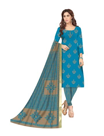 GF's | GF's BEAUTIFUL SOFT COTTON HAND BLOCK PRINTED UNSTITCHED DRESS MATERIAL WITH 2.5 MTR TOP FOR WOMEN