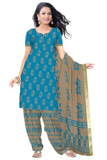 GF's   GF's Designer Salwar Suits & Dress Materials for Women with Village Warli Printed Soft Cotton