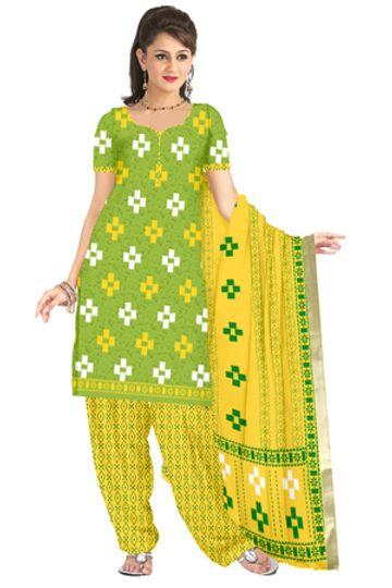 GF's | GF's Soft Cotton Designer Ikkat Printed Salwar Suit & Dress Material for Women
