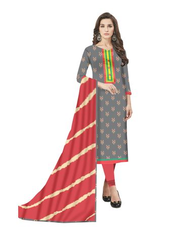 GF's | GF's Beautiful Pure Cotton Ikkat Printed Salwar Suit & Dress Material for Women