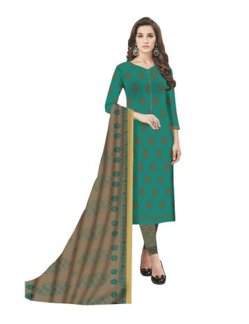 GF's   GF's Beautiful Soft Cotton Block Printed Unstitched Salwar Suit Dress Materials for Women with 2.40 mtr Top