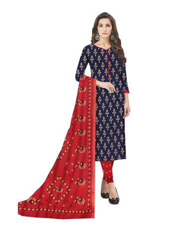 GF's   GF's Beautiful Pure Cotton Flower Printed Unstitched Salwar Suit Dress Materials for Women