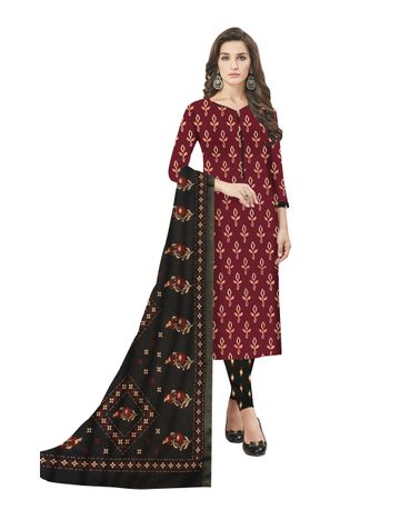 GF's | GF's Beautiful Pure Cotton Flower Printed Unstitched Salwar Suit Dress Materials for Women