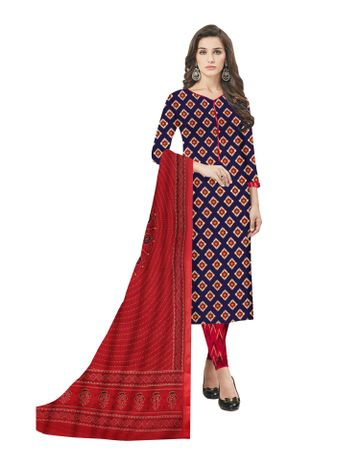 GF's   GF's Beautiful Pure Cotton Ikkat Square Printed Unstitched Salwar Suit Dress Materials for Women