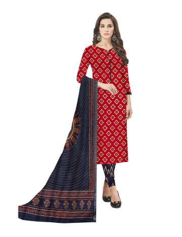 GF's | GF's Beautiful Pure Cotton Ikkat Square Printed Unstitched Salwar Suit Dress Materials for Women