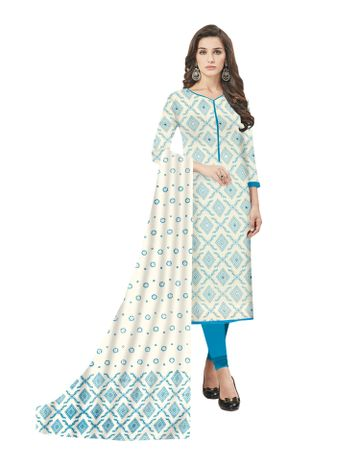 GF's   GF's Designer Soft Cotton Geomatric Printed and Mirror Worked Unstitched Salwar Suit Dress Materials for Women