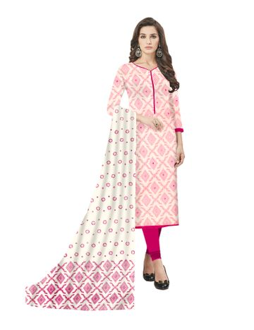 GF's | GF's Designer Soft Cotton Geomatric Printed and Mirror Worked Unstitched Salwar Suit Dress Materials for Women