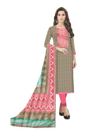 GF's | GF's Designer Soft Cotton With Heavy Neck Patchwork, Cotton Dupatta Suits & Dress Materials for Women