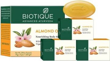 Biotique Advanced Ayurveda | BIOTIQUE Bio Almond Oil Nourishing Body Soap  (3 x 75 g)