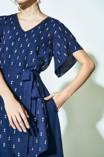 Global Desi | Sustainable Navy Embroidered V-Neck Jumpsuit