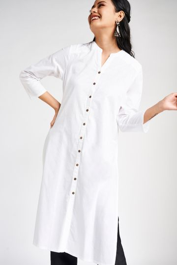 Global Desi | White Mandarin Collar A-Line Midi Kurta
