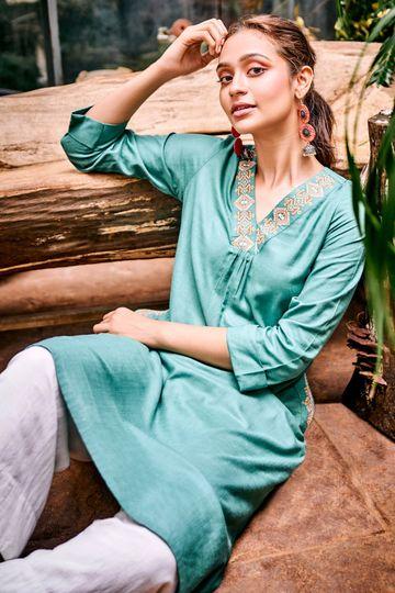 Global Desi | Sustainable Sage Green Embroidered A-Line Kurta