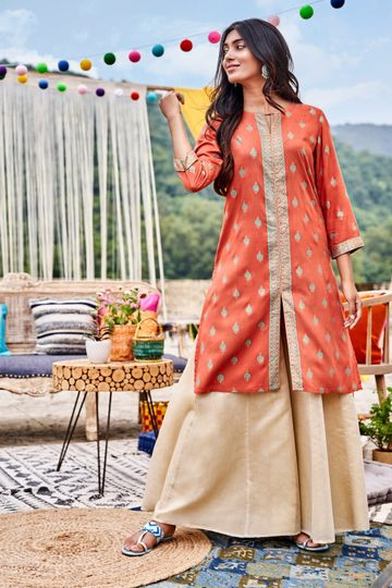 Global Desi | Sustainable Rust Floral Round Neck A-Line Midi Kurta