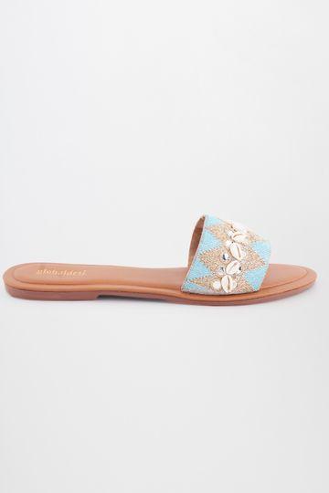 Global Desi   Blue Embroidered Flats