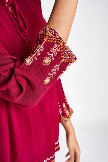 Global Desi | Sustainable Wine Embroidered A-Line Regular Top