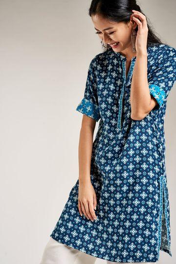 Global Desi | Sustainable Dark Blue Geometric Print Bodycon Tunic