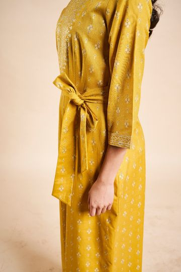 Global Desi | Sustainable Mustard Geometric Print Fit and Flare Jumpsuit