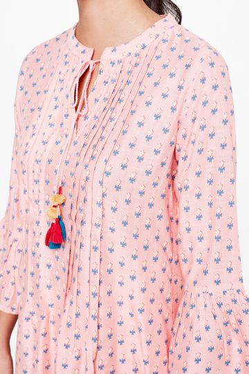 Global Desi | Sustainable Pink Floral Printed Knee Length Tunic