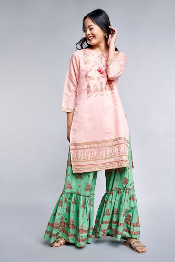 Global Desi | Sustainable Pink Embroidered Tie-Up Neck A-Line Kurta